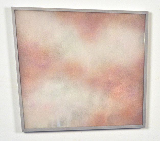 "Patrick Coutu ,  Poussières III , 2018, Enamels on glass, mirror, frame in aluminium, 15"" x 18"" x 1""."