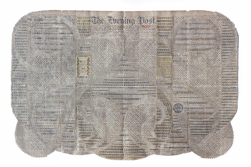 """Myriam Dion,   The Daltons : Pursuit of Train Robbers, The Evening Post, New York, 1892 , 2019, Papier journal coupé au couteau x-acto, collage de papier japonais, feuille d'or et feuille nazionale, 33' x 21 3/4""""."""