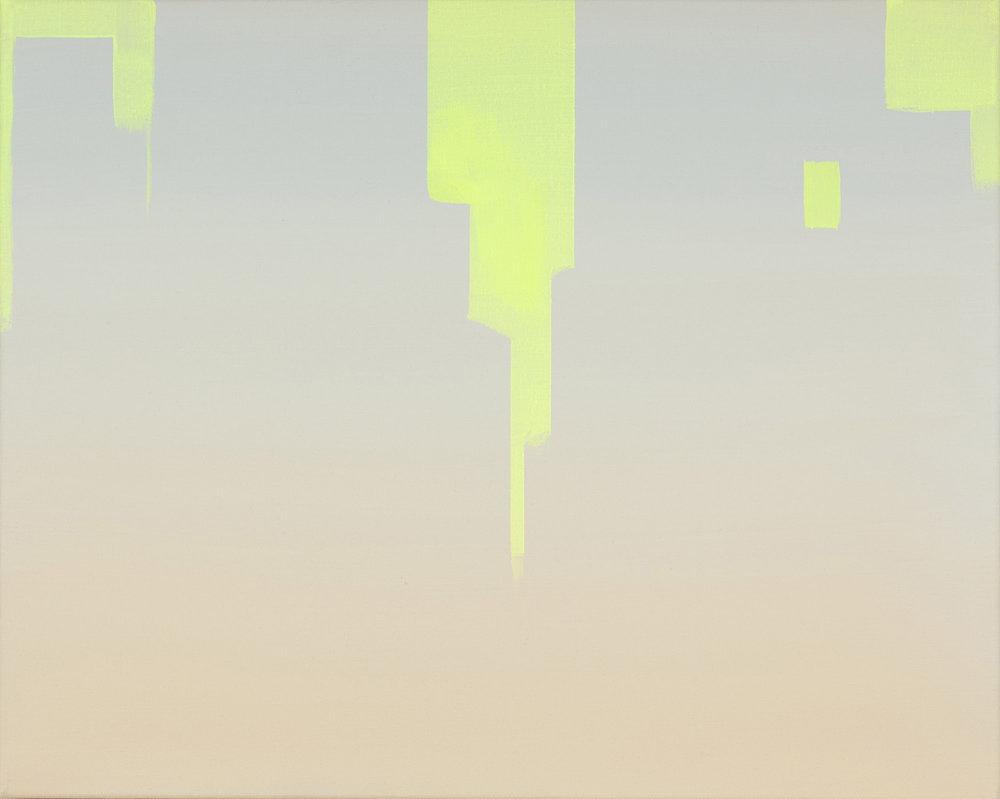 """Wanda Koop,   In Absentia (Pale Peach - Luminous Yellow),  2016, Acrylique sur toile tendue sur faux-cadre, 16"""" x 20""""."""