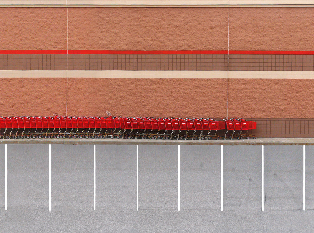 Lots No. 2 (Target 02) 29x23 cm   The lines on the parking lots asphalt intend to organize and structure the places. In the photographs they also serve as reference points to compensate the perspective shortening of the photographs. As a consequence, space becomes completely flattened out.