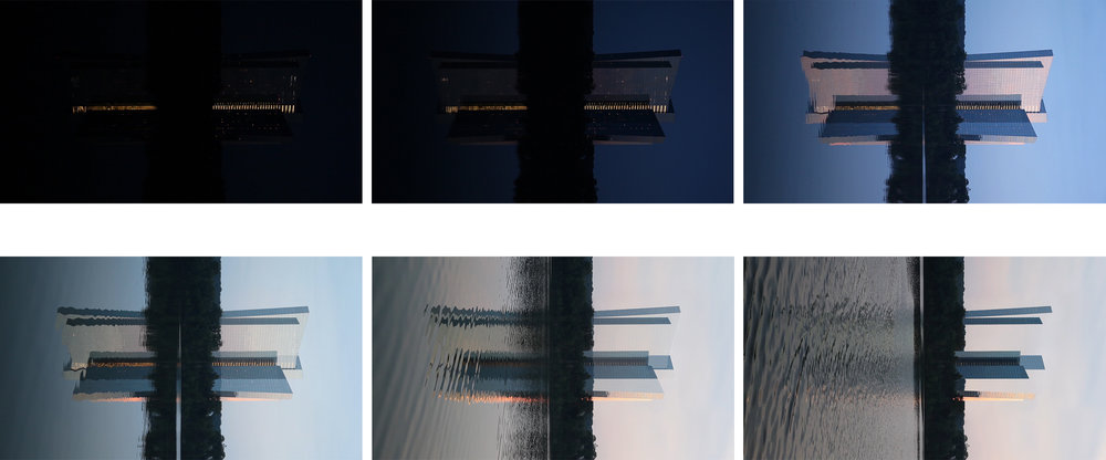Mohegan Sun, single-channel video, 3 min., 2017  (video stills) The video causes the foregrounded building to tip into an abstracted image that merges foreground and background with each other.