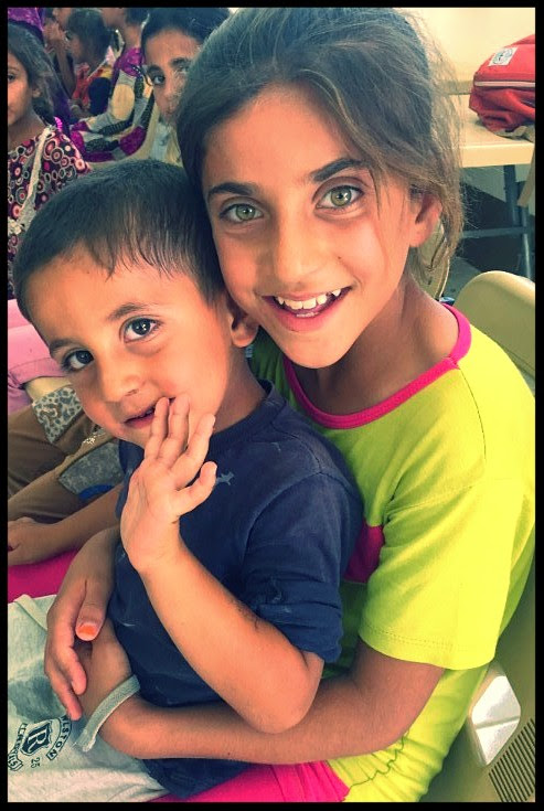 Muslim refugee children who fled from ISIS in Mosul.