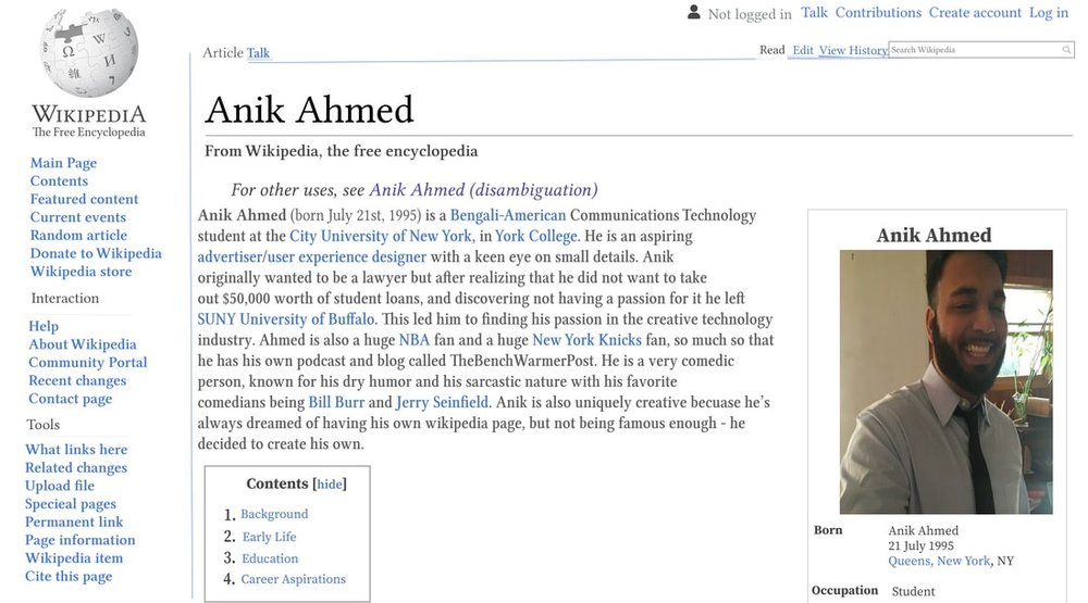 My Own Wikipedia Page