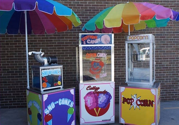 Left- Snowcones  Center- Cotton Candy  Right- Popcorn