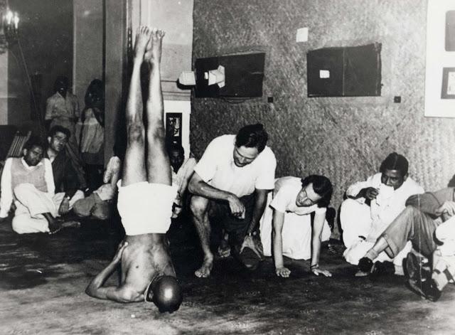 Sri K Pattabhi Jois demonstrating salamba sarvangasana (shoulderstand)