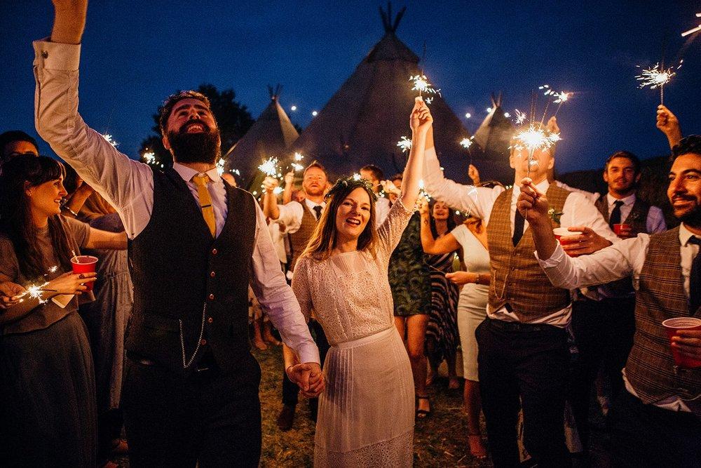 woodland tipi wedding sparklers