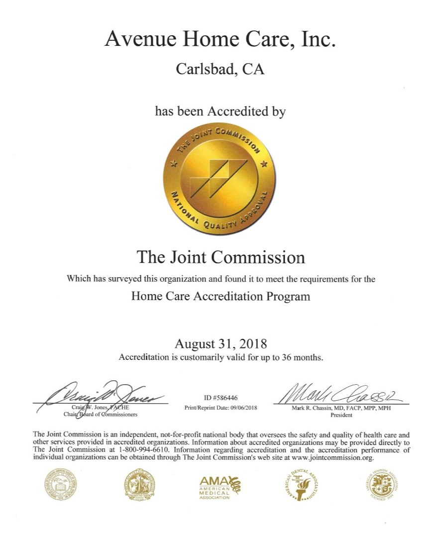 Avenue Home Care Joint Commission Certificate