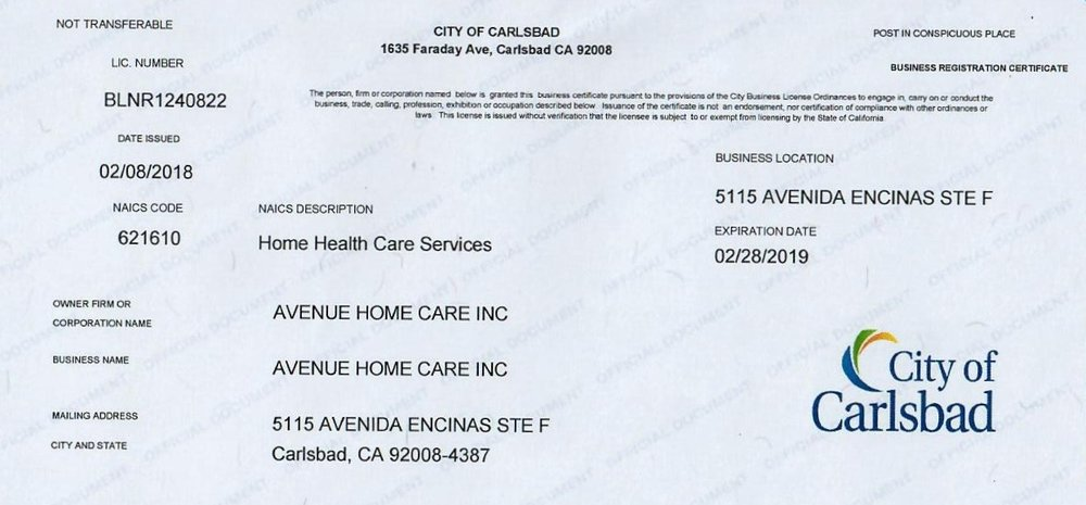 Avenue Home Care City of Carlsbad Business License