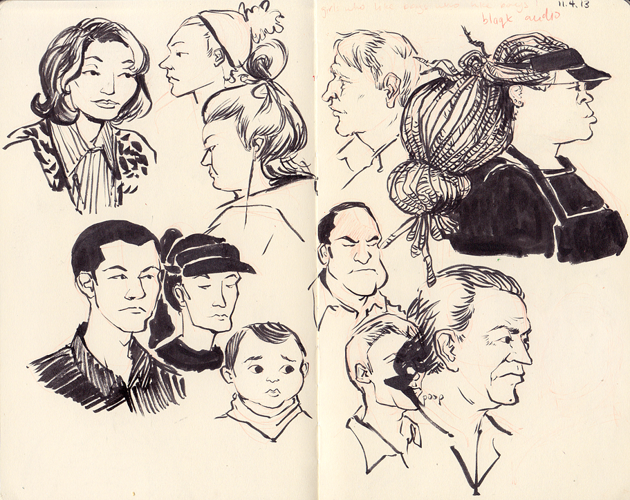 I am jealous of visual artists, because freaking look at these! They're just SKETCHES she did sitting at a coffee shop! I couldn't do one of these if you gave me six hours!