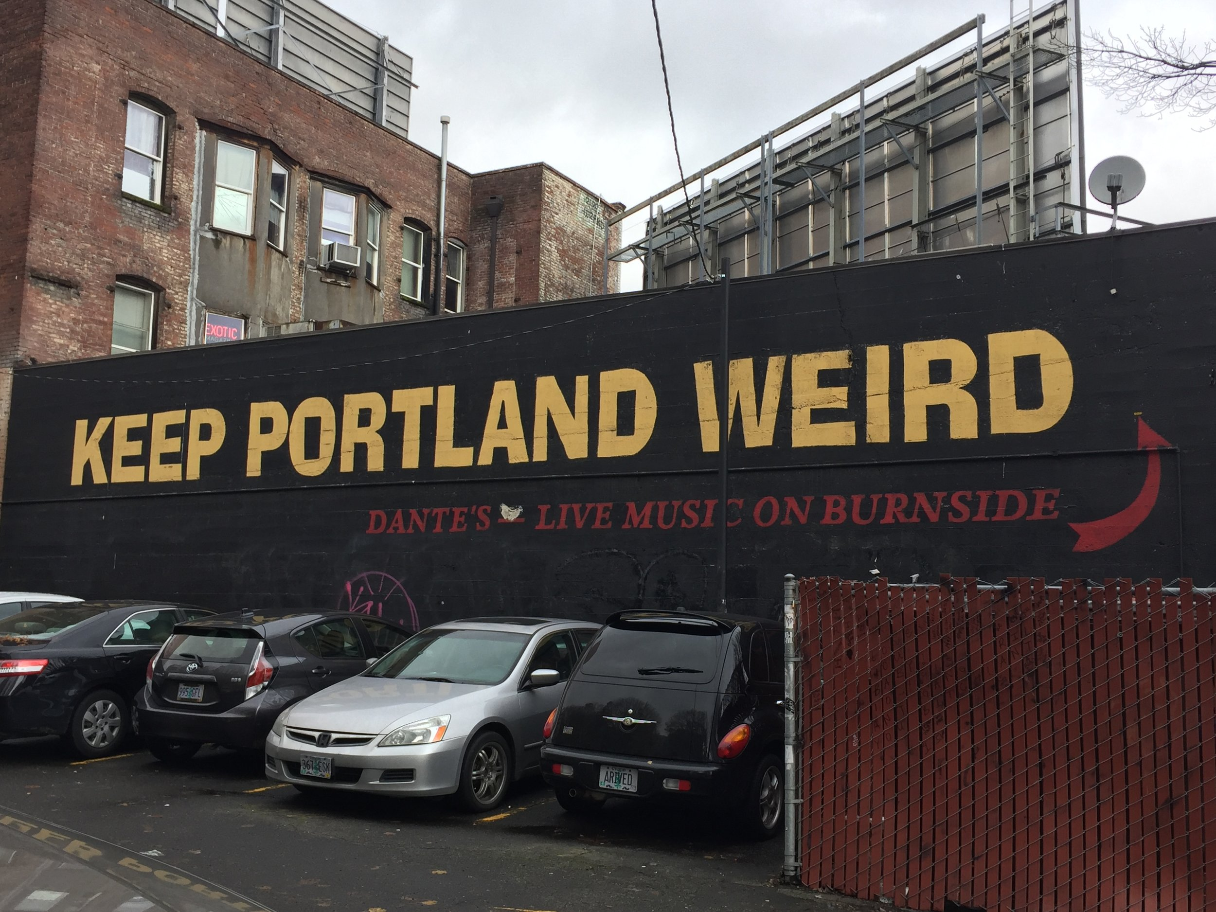 sorry the picture isn't here--it's definitely the Keep Portland Weird mural
