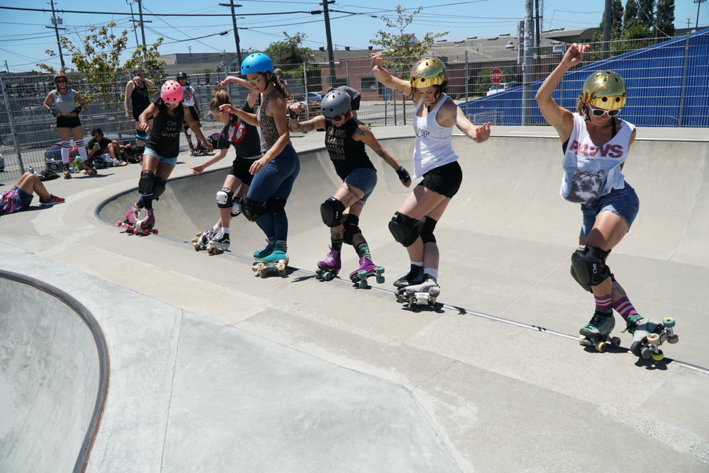 Chicks in Bowls, Bay Area Chapter - Our entire motivation is to encourage and inspire women and men to get into skate parks on their rollerskates. We are one of over 200 international Chapters helping aid Chicks in Bowls towards their goal of World Domination. Get in touch with us for local meet ups, tips, tricks, thrills, spills and more. Visit our Bay Area Chapter Facebook Group to join in and Spread the Stoke!CIB Bay Area Facebook GroupPC: Stef Mainey
