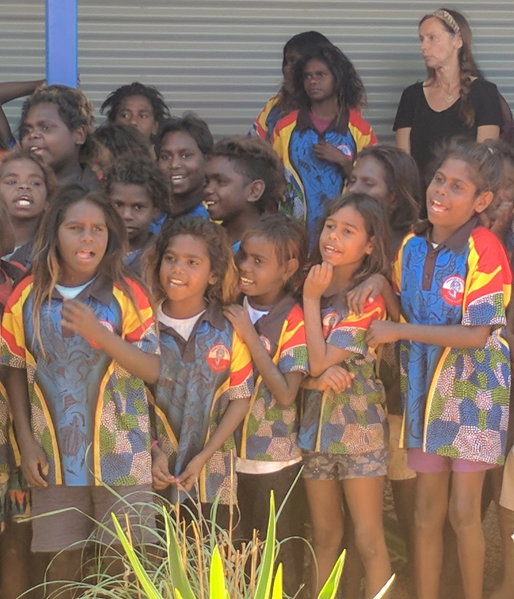 Ngukurr Primary School singing at the opening of the new Ngukurr Clinic.