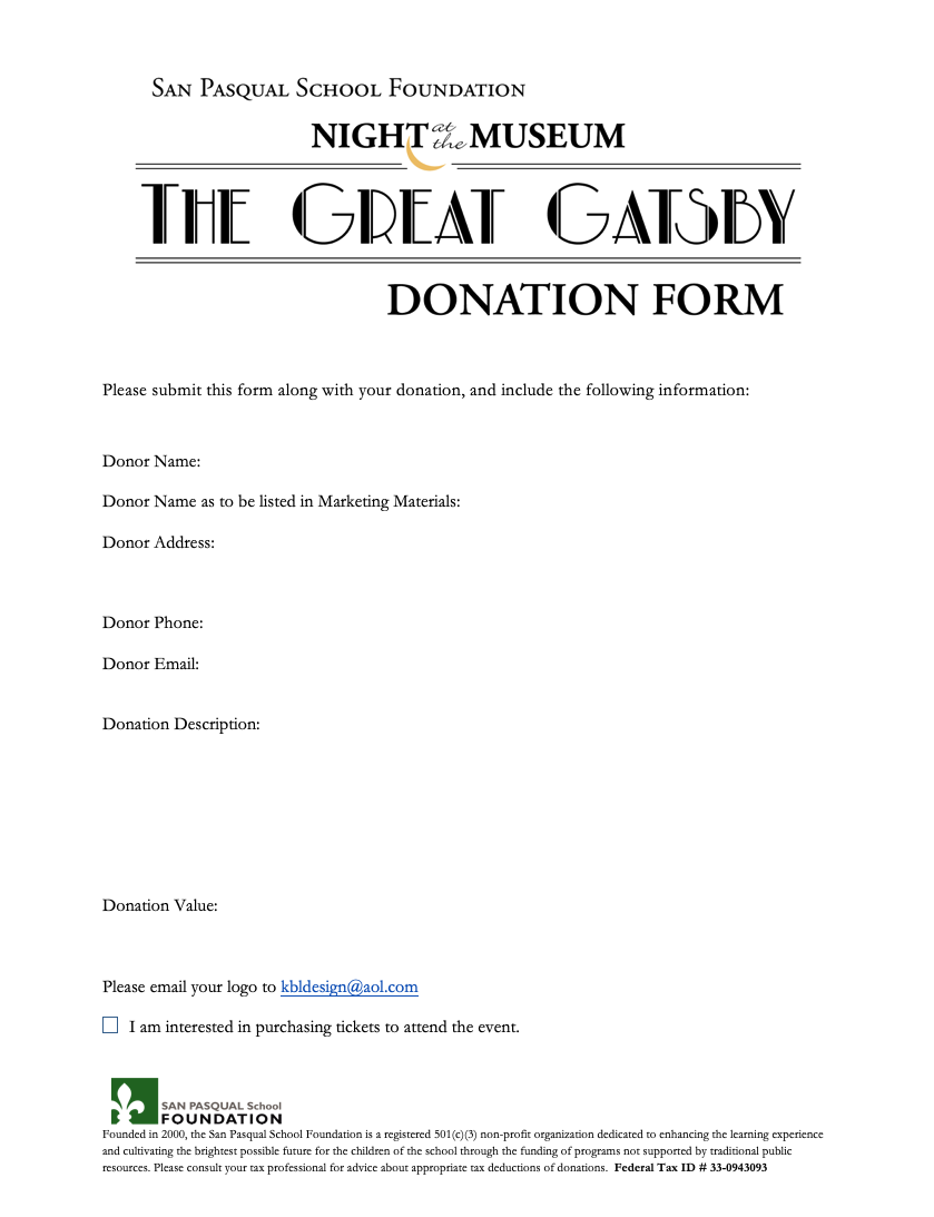 Click to Download the Donation Form
