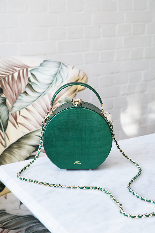 Luxury green handbag Aspinal of London