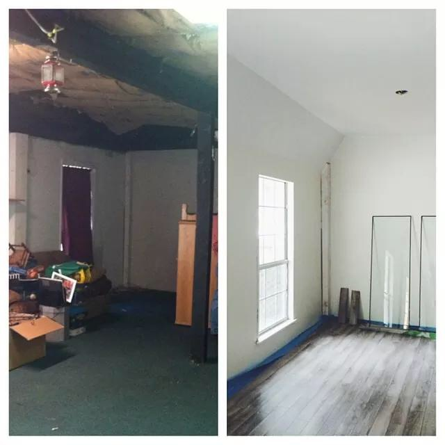 Before and in progress! Same corner of the building!