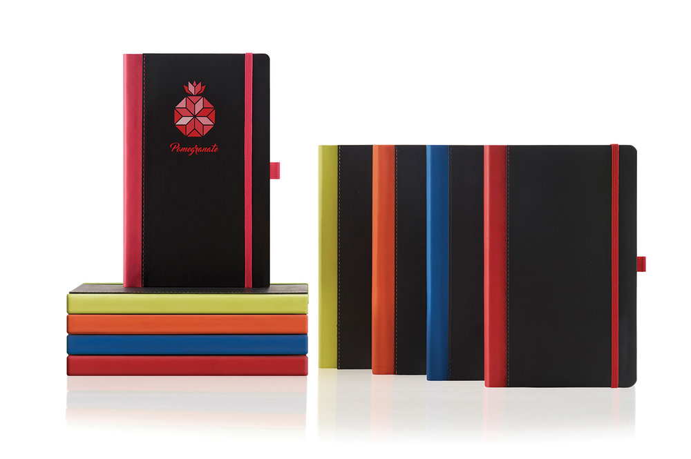 Matching coloured spines, pen loop and strap give this notebook the edge on colour.