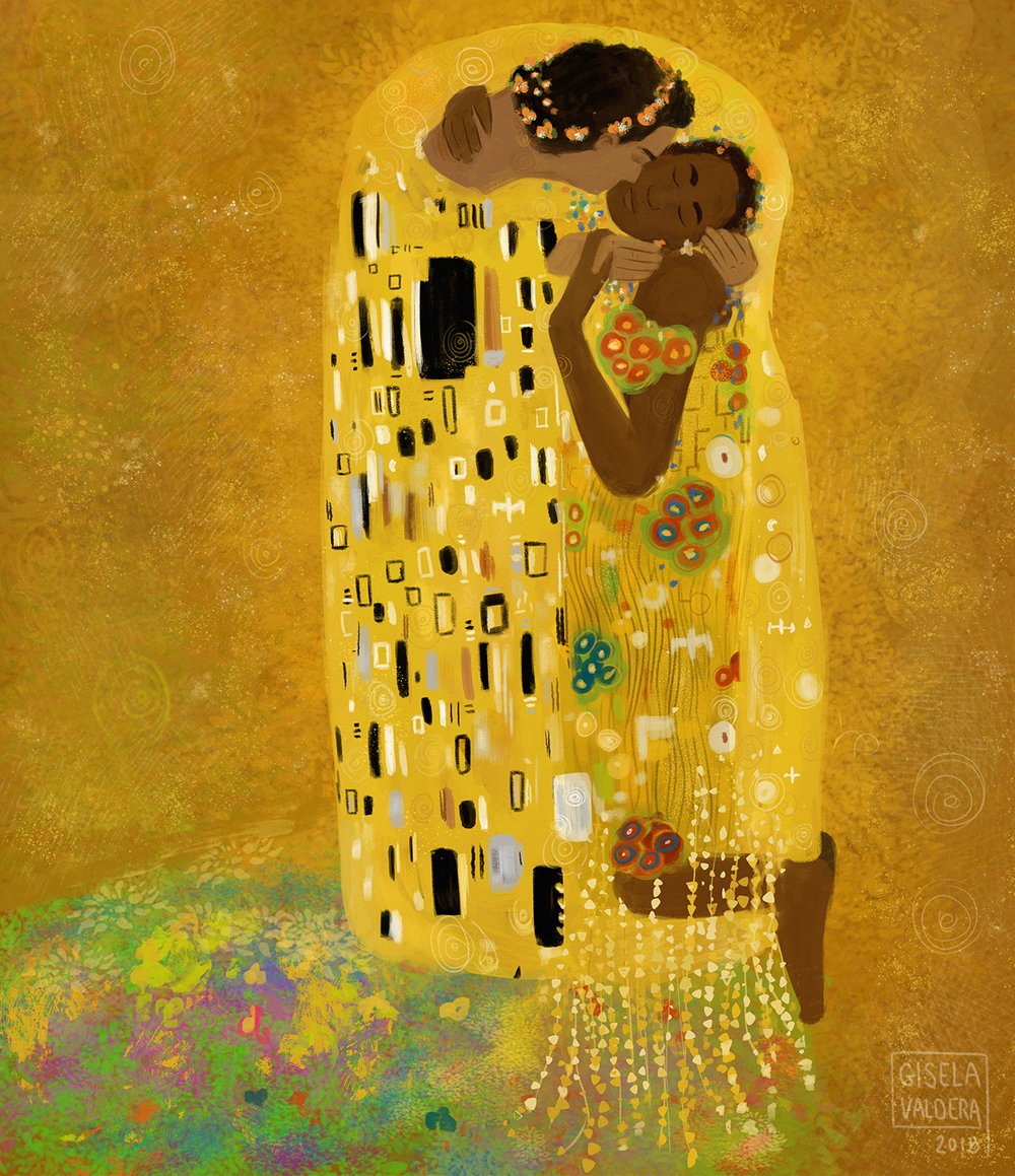 "Study based on Gustav Klimt's ""The Kiss"""