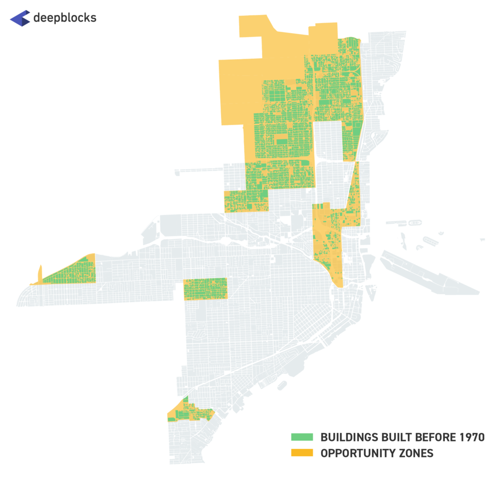 Opportunity Zone parcels with Old Buildings in City of Miami.