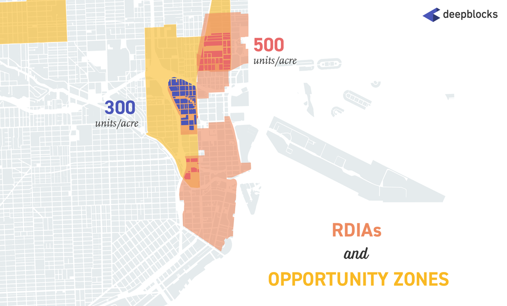 City of Miami parcels that fall within both Opportunity Zones and RDIAs (Residential Density Increase Areas)