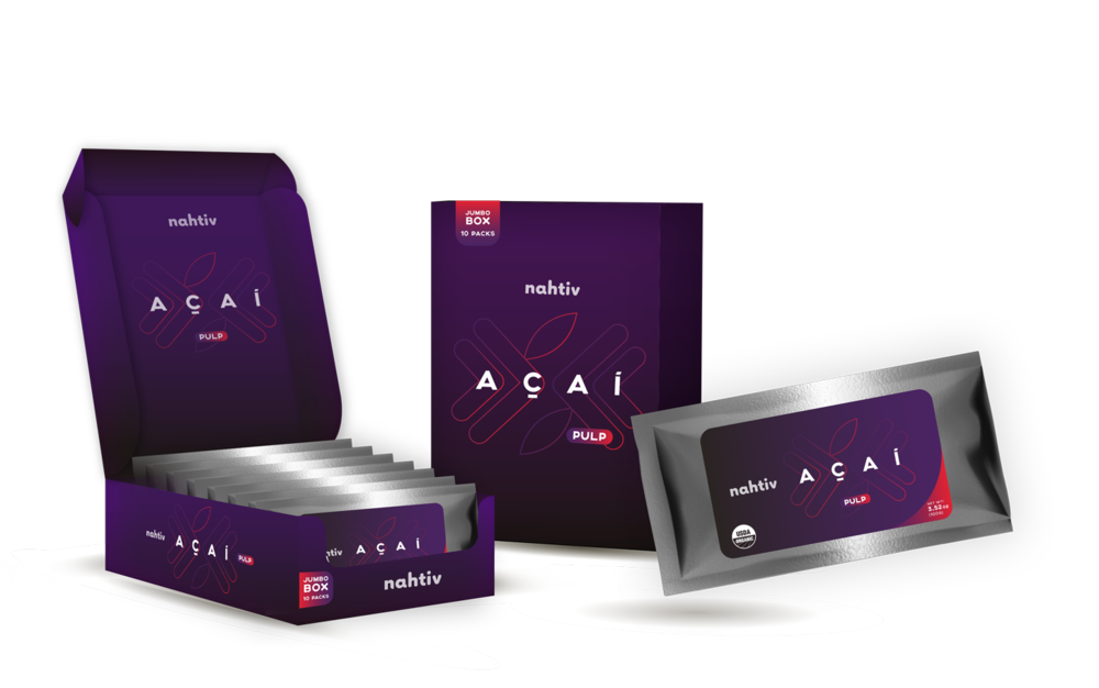 Nahtiv AÇAÍ PULP BOX (pack with 30)   Acai berries come from the Acai Palm, which is widely found in the Amazon Basin. The nutritional value of the Acai berry is vital to the overall health of consumers. Contain carbohydrates, dietary fiber, healthy fats, protein and are rich in vitamins, minerals and antioxidants.