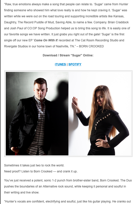 "'Sugar' featured in ""Breaking Music Magazine""! Click on the image to read the article! -"