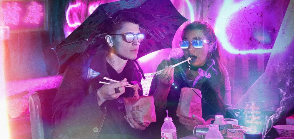 Kyle James & Mallori Taylor on the set of Parker Gayan's film, Preset (2018)
