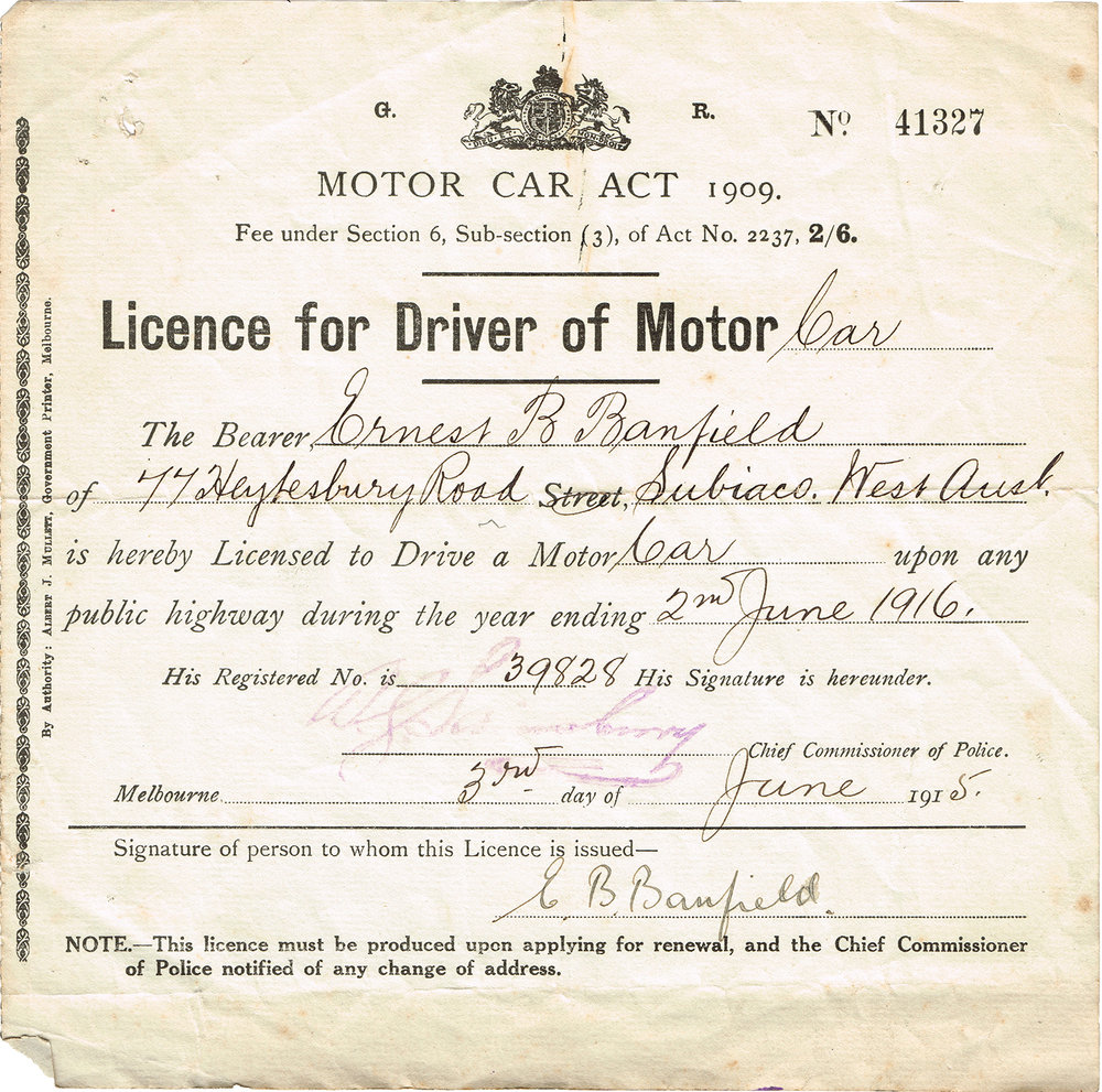 Ernest Banfield's drivers' licence for 1915-1916, courtesy Diana Hardie.