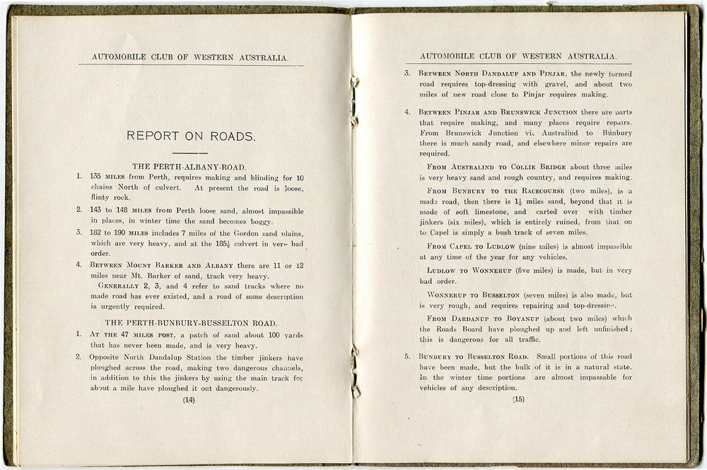 Report on Roads from The Automobile Club of Western Australia's 1910-1911 Annual Report. Courtesy RAC Archives.