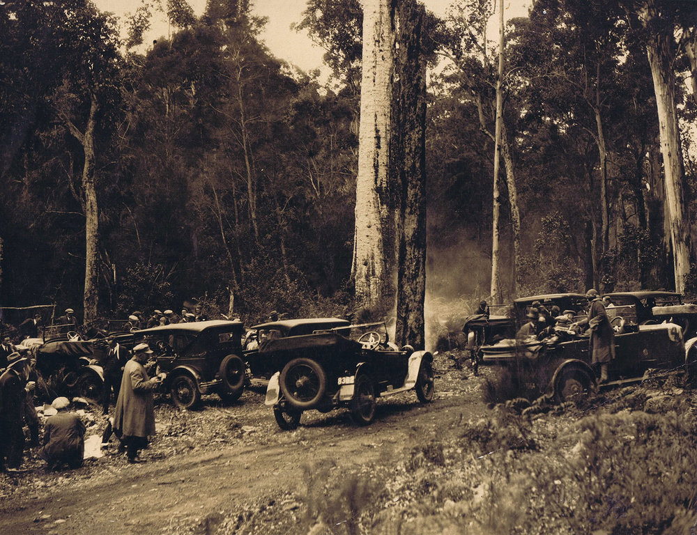 Reliability trial about 1926. Shannon River near Nornalup, between Manjimup and Nornalup.   Written on the back of the original images, inserted separately in the found copy of The Motor Car in Western Australia.