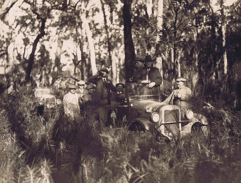"""Reliability trial about 1926.   """"Between Denmark and Mt Barker."""""""