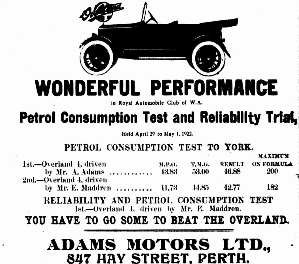 The results of the RAC's first annual petrol consumption test and reliability trial, 29 April to 1 May 1922. Daily News, 3 May 1922.