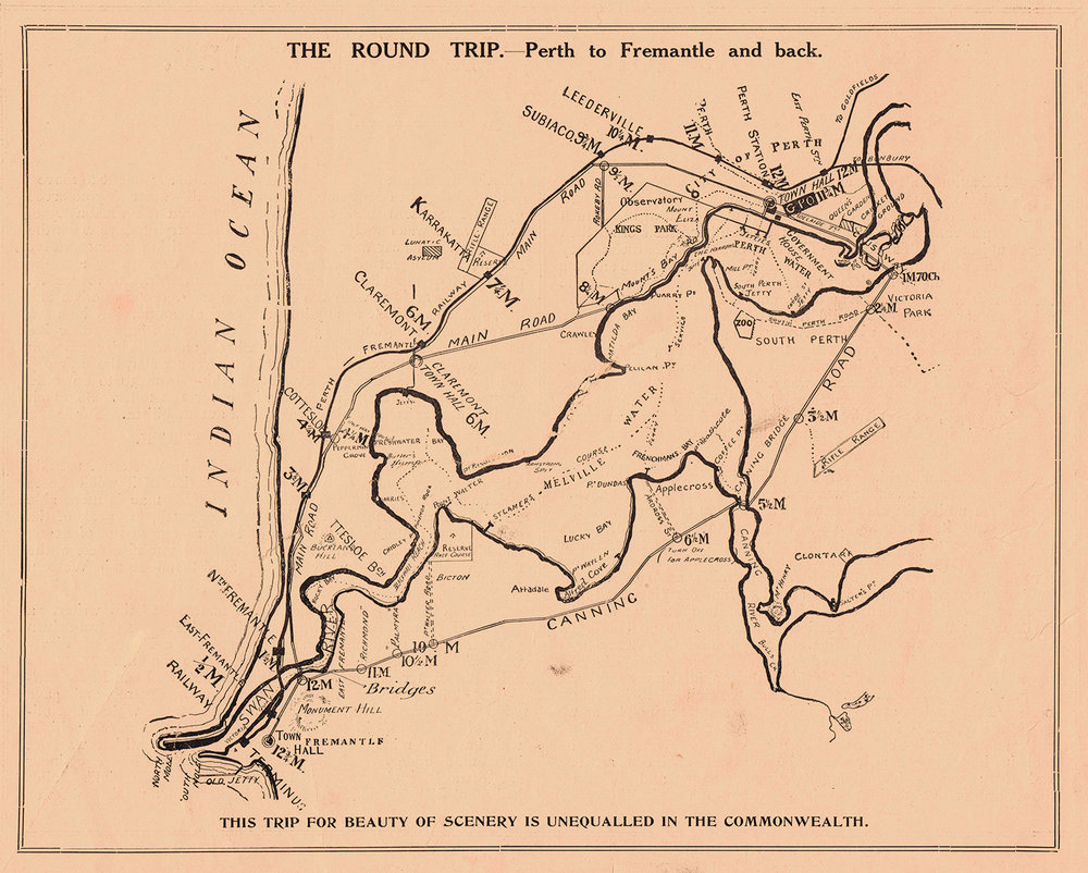 The Round Trip - Perth to Fremantle and Back, from The Motor Car in Western Australia, 1908.