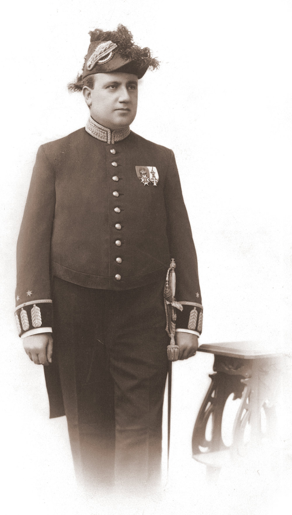 Richard Strelitz c1913 in the Danish uniform of the Consul-General, wearing the Knighthood of the Order of the Dannebrog (right), conferred on him by the King of Denmark in 1904, and the Knighthood of the Vasa Order (left), conferred on him by the King of Sweden in 1912. Courtesy RAC Archives.