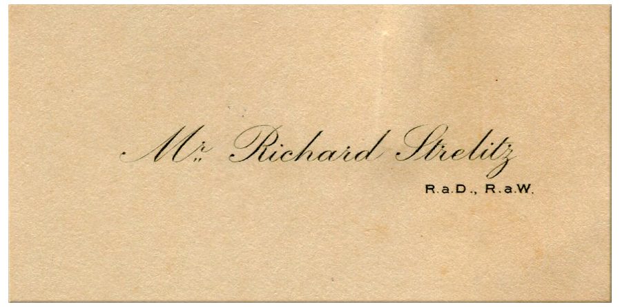 Richard Strelitz's calling card, courtesy RAC Archives.