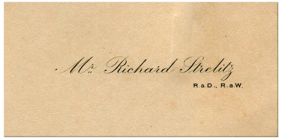 Richard Strelitz's calling card, courtesy RAC Archives.