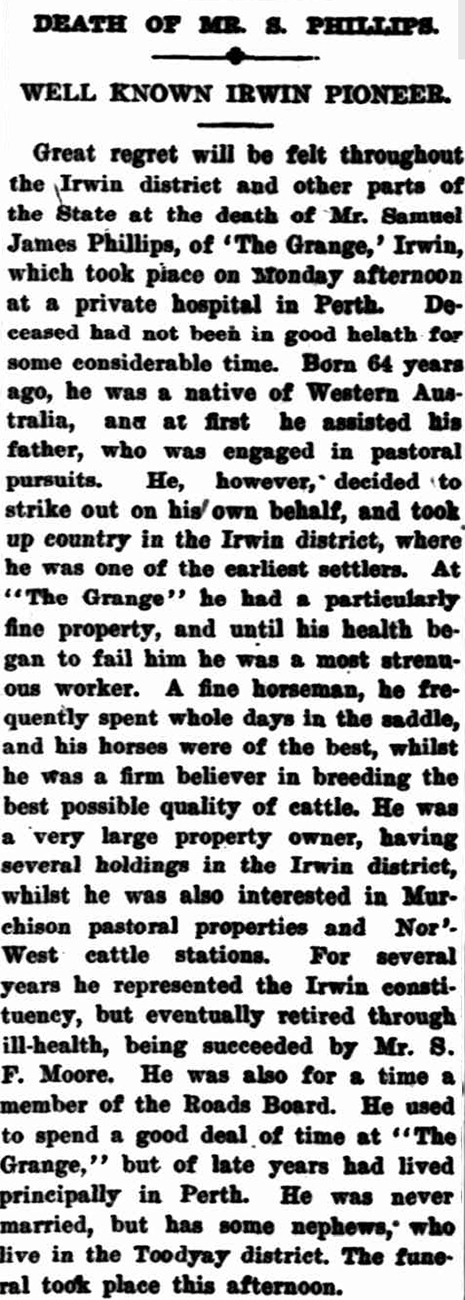 Sam Phillips' death in the Geraldton Guardian, 22 June 1920