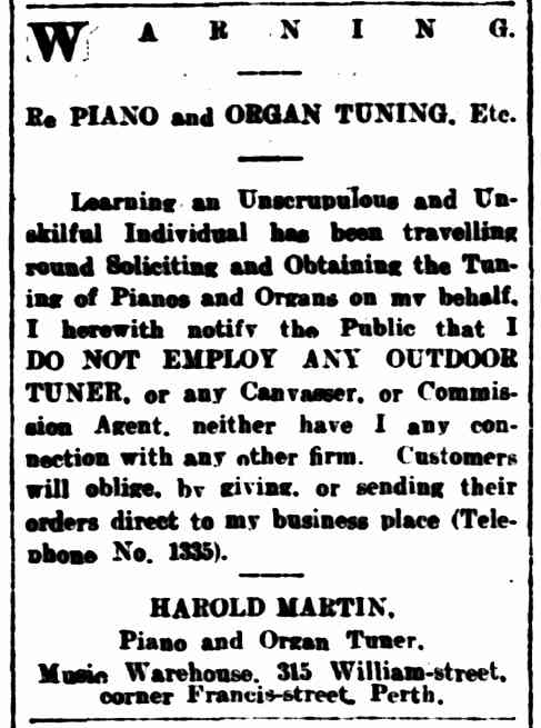 Harold airs his outrage at a false tuner in The West Australian, 7 July 1906.