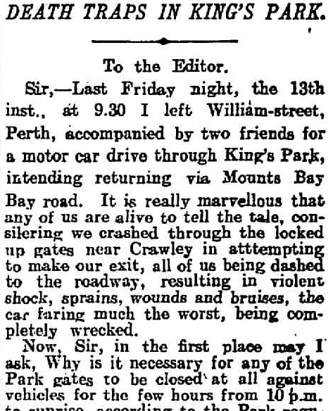 Harold describes his accident in The West Australian, 19 December 1907.