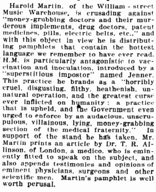 Harold the anti-vaxer! Truth 20 October 1906