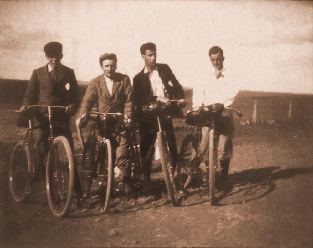 Champion cyclist Dr Tim Gillespie, second from left, c1898. Courtesy Emeritus Professor Max Kamien.
