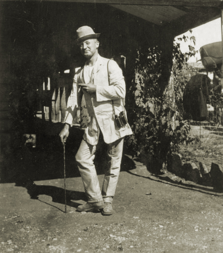 Dr Gillespie in a typical Charlie Chaplin pose at Hillside, 1920s. Courtesy Emeritus Professor Max Kamien.