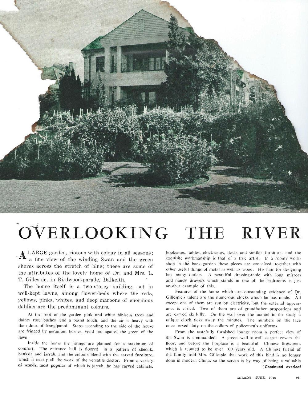 Dr Gillespie's home at 45 Birdwood Parade, Dalkeith, in Milady magazine, June 1949. Courtesy Emeritus Professor Max Kamien.