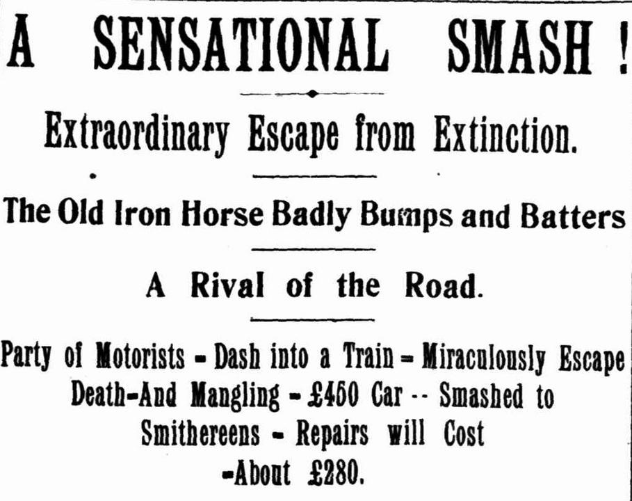 The Williams crash, headlines, Truth 12 October 1907.
