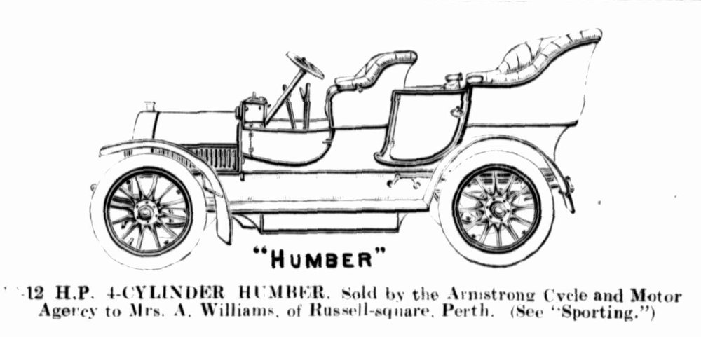 Annie Williams' purchase of her Humber in the Western Mail, 14 September 1907.