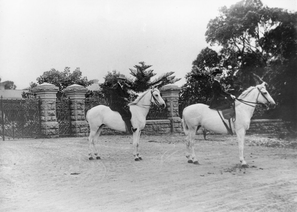 Neil and Jessie McNeil on their horses 'Whiskey' and 'Soda', outside The Cliffe, c1900. Courtesy Presbyterian Ladies' College Archives.