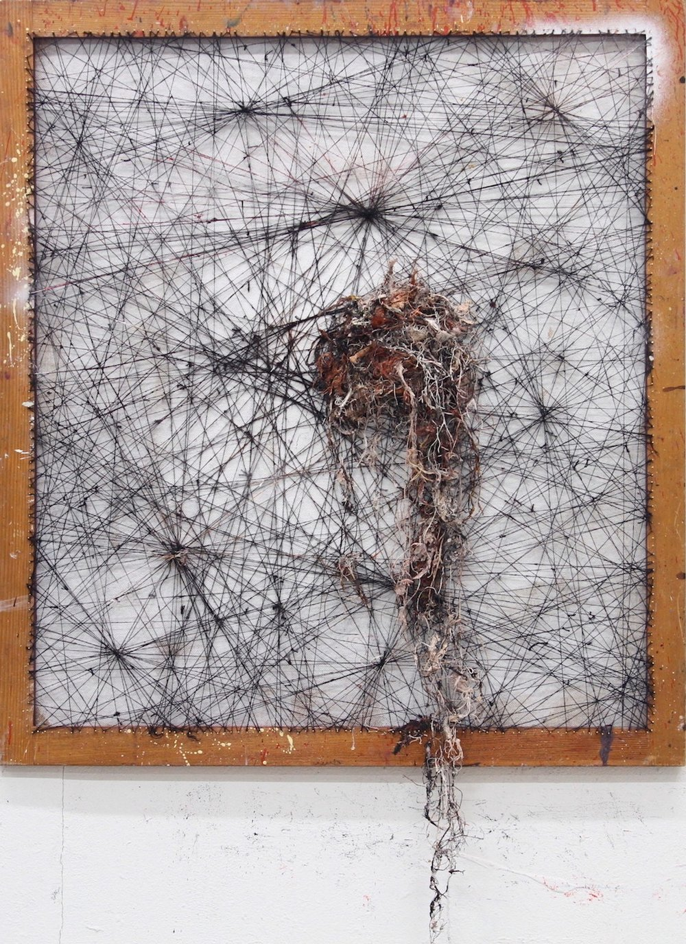 Drop / 2012 / thread, nails, oil and acrylic on wood