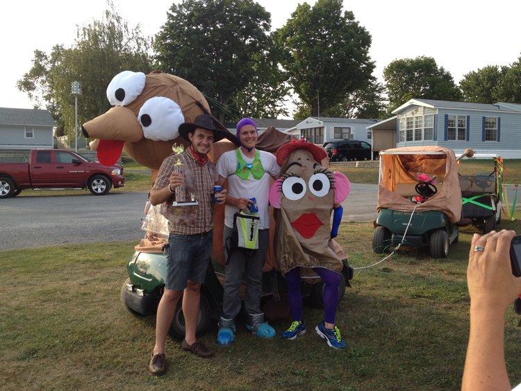 Buzz Lightyear, Cowboy Woody, Mrs. Potato Head, Slinky Dog (Toy Story) July 4th Golf Cart Parade 2012