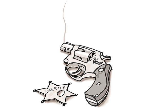 Cartoon of smoking revolver and a sheriff's badge with bullet hole through it