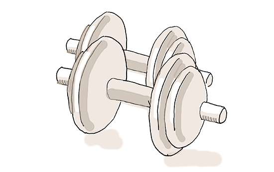 cartoon of a set of dumbbells