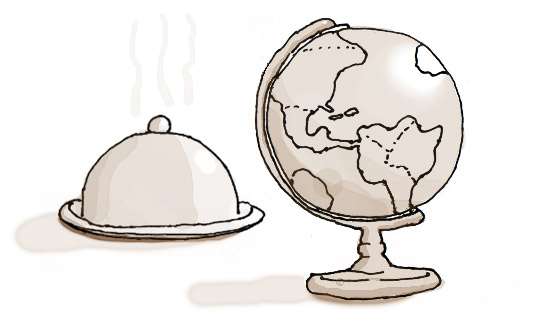 cartoon of a world globe and restaurant cloche